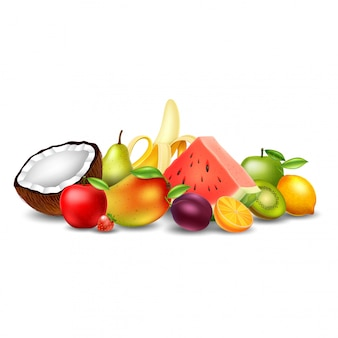 Ensemble de fruits isolé sur fond blanc