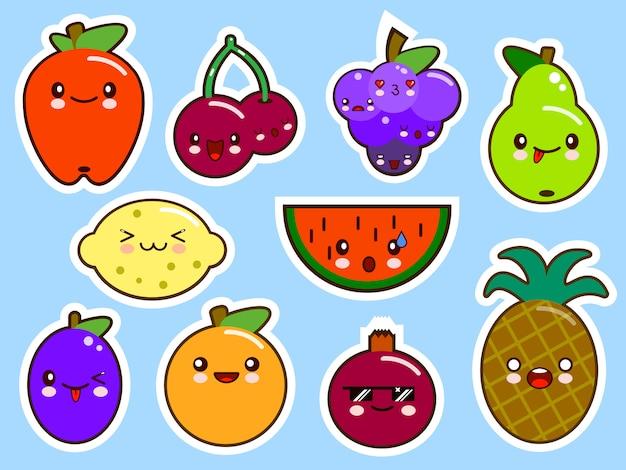 Ensemble de fruits kawaii smiley