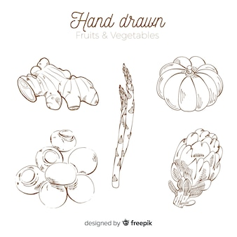 Ensemble de fruits et de légumes dessinés à la main sans couleur