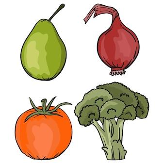 Ensemble de fruits et légumes juteux en style cartoon végétarisme mode de vie sain