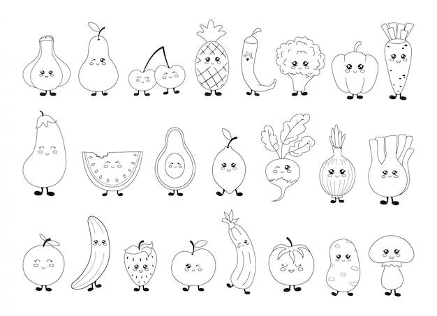 Ensemble de fruits et de légumes kawaii noir et blanc