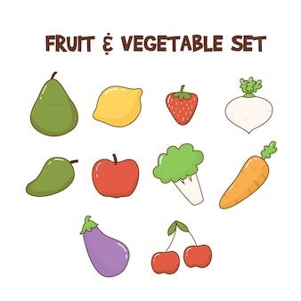 Ensemble de fruits et légumes mignons