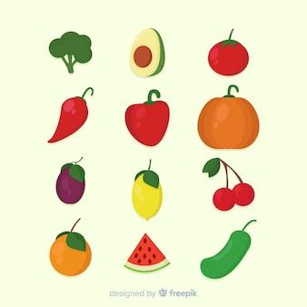 Ensemble de fruits et légumes plats