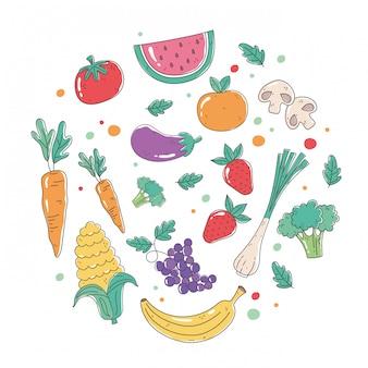 Ensemble de fruits et légumes sains