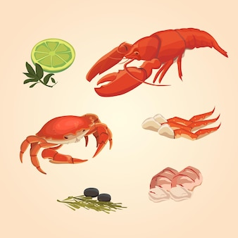 Ensemble de fruits de mer aquarelle. écrevisses et crabes au citron vert et papier