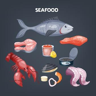 Ensemble de fruits de mer. tranche de saumon et crevettes, crustacés.