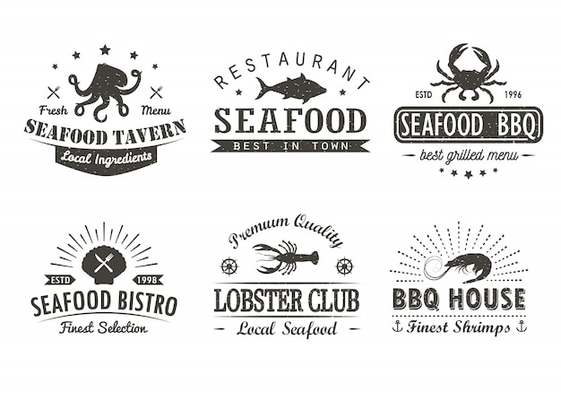 Ensemble de fruits de mer vintage, barbecue, modèles de logo grill, insignes et éléments de conception.