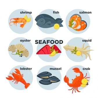 Ensemble de fruits de mer