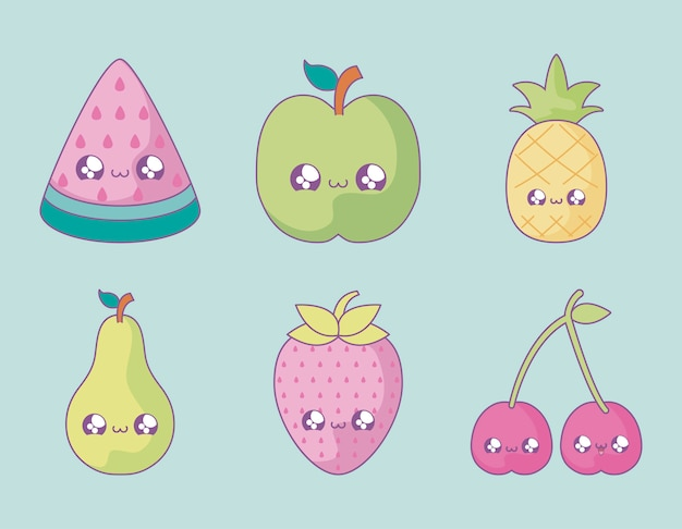 Ensemble de fruits mignons style kawaii