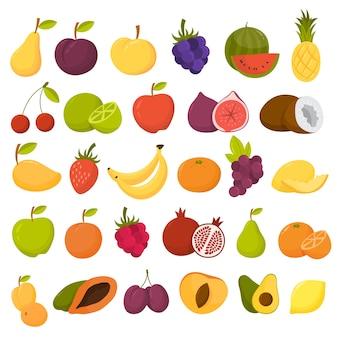 Ensemble de fruits. nourriture biologique pleine de vitamines
