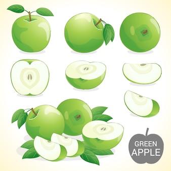Ensemble de fruits pomme verte en différents formats de vecteur de styles