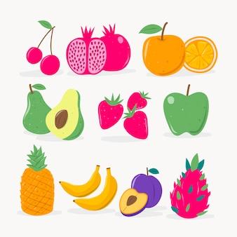 Ensemble de fruits savoureux plat