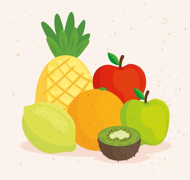 Ensemble de fruits tropicaux frais et sains