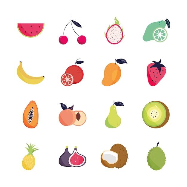 Ensemble De Fruits Tropicaux Vecteur Premium
