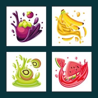 Ensemble de fruits tropicaux