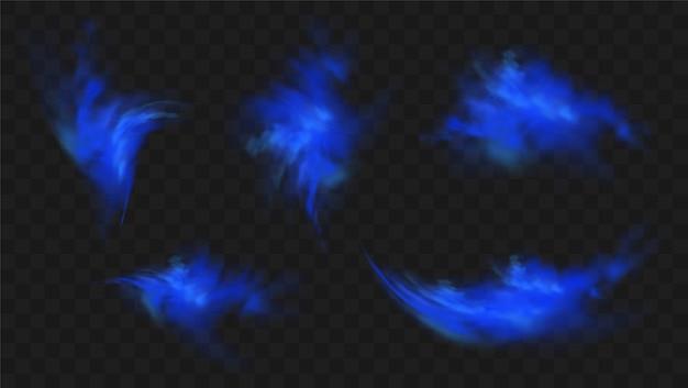 Ensemble de fumée bleue isolé. nuage de brouillard magique bleu réaliste, gaz toxique chimique, ondes de vapeur