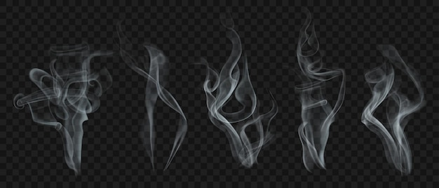 Ensemble de fumée ou de vapeur transparente réaliste dans des couleurs blanches et grises, à utiliser sur fond sombre