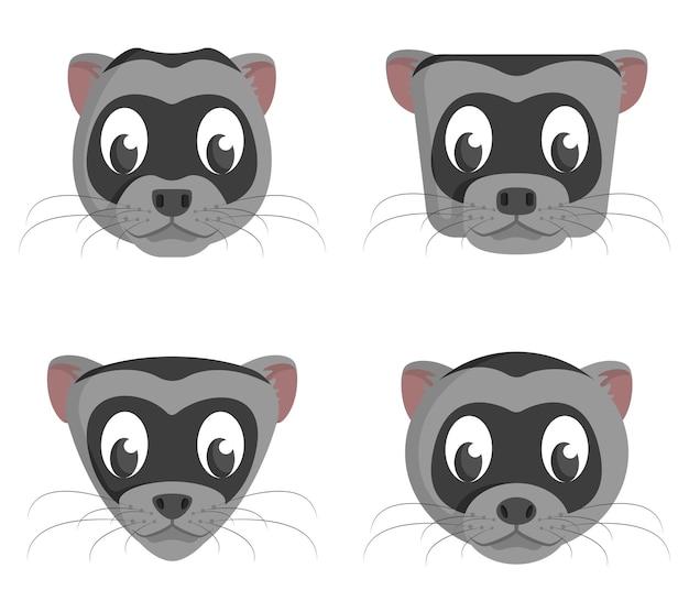 Ensemble de furets de dessin animé. différentes formes de têtes d'animaux.