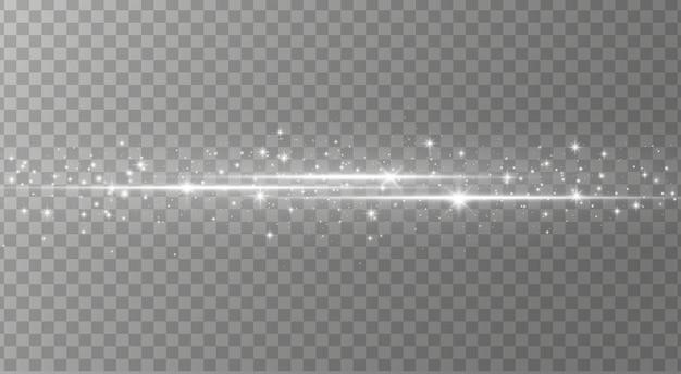 Ensemble de fusées éclairantes horizontales blanches, faisceaux laser, lumière parasite.