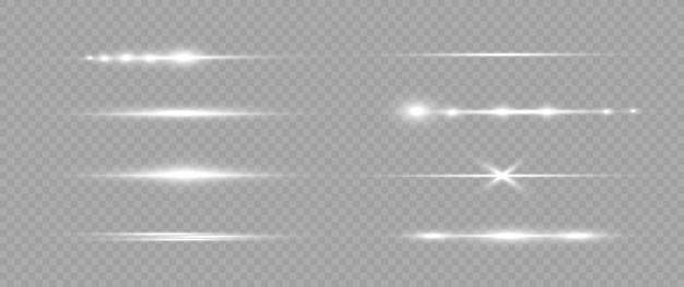 Ensemble de fusées éclairantes horizontales blanches. faisceaux laser rayons lumineux horizontaux
