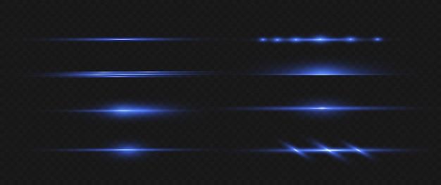 Ensemble de fusées éclairantes horizontales bleues. faisceaux laser rayons lumineux horizontaux