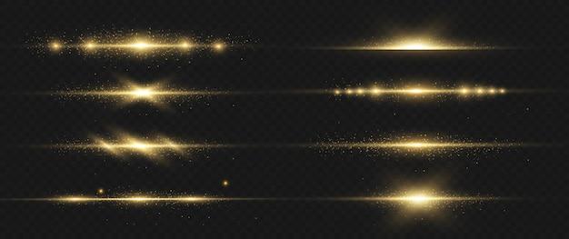 Ensemble de fusées éclairantes horizontales jaunes. faisceaux laser rayons lumineux horizontaux