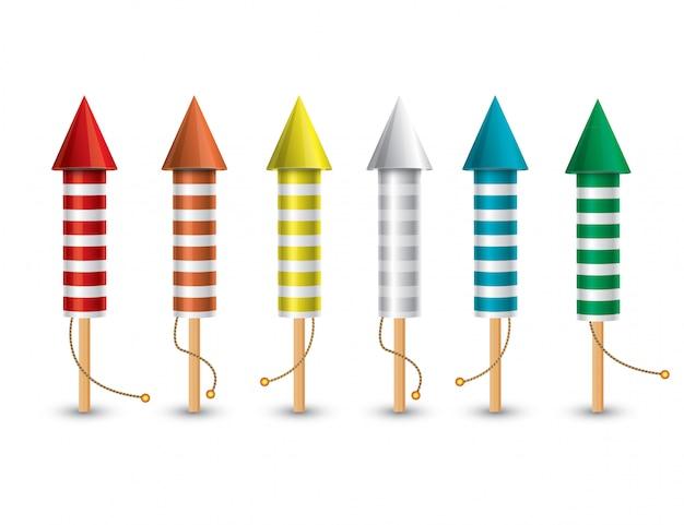 Ensemble de fusées pyrotechniques isolées sur blanc