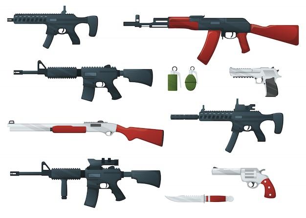 Ensemble de fusil militaire d'arme, revolver et pistolet aigle du désert, carabine de fusil de chasse, grenade, couteau et mitraillette dessin animé icône illustration, isolé du blanc.