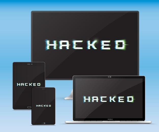 Ensemble de gadgets électroniques. attaque de pirate. concept de cybercriminalité