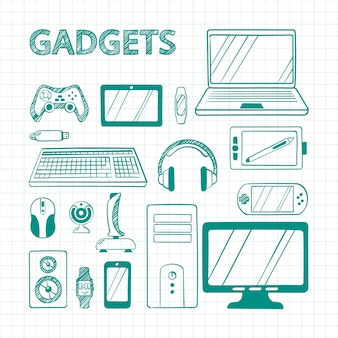 Ensemble de gadgets électroniques stylo vert dessiné à la main. croquis de dispositifs informatiques