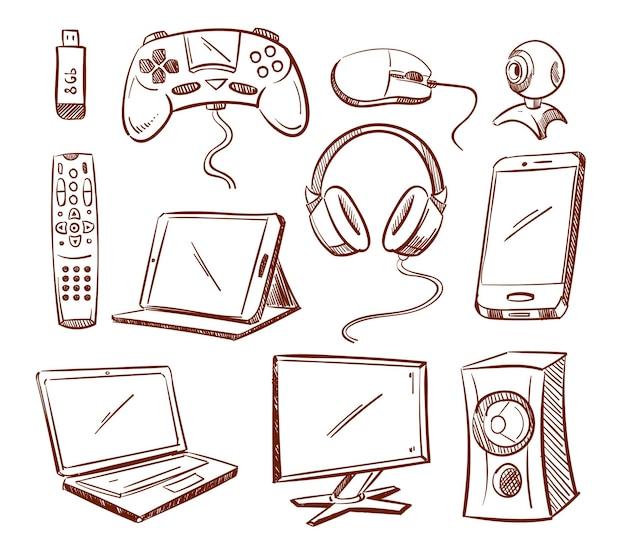 Ensemble de gadgets informatiques doodle.