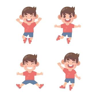 Ensemble de garçon sauter et sourire