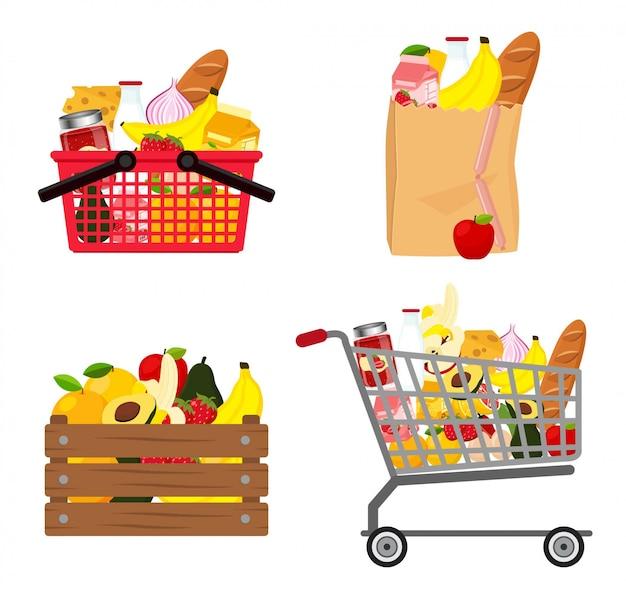 Ensemble de garde-manger sur sac, panier, boîte en bois, chariot de shooping, plein de nourriture