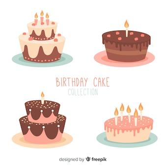 Ensemble de gâteau d'anniversaire dessiné à la main