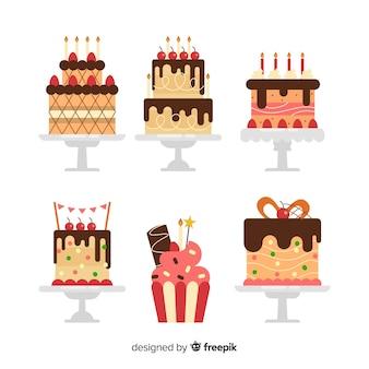 Ensemble de gâteau d'anniversaire plat