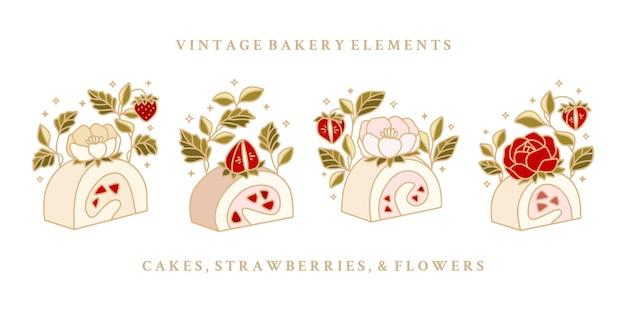 Ensemble de gâteau au fromage aux fraises roulé dessiné à la main avec des fleurs de rose et de pivoine