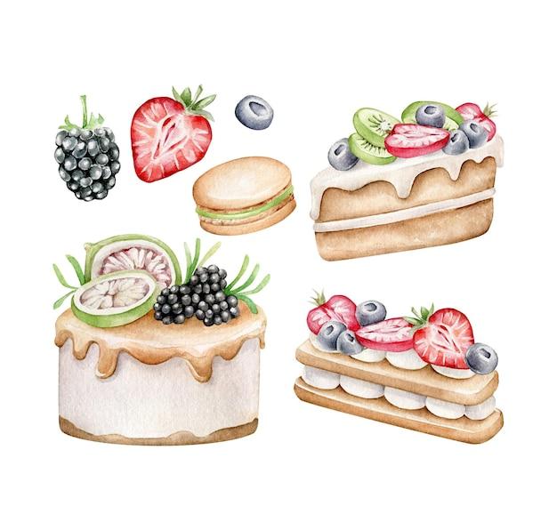 Ensemble de gâteau aux fruits isolé sur blanc