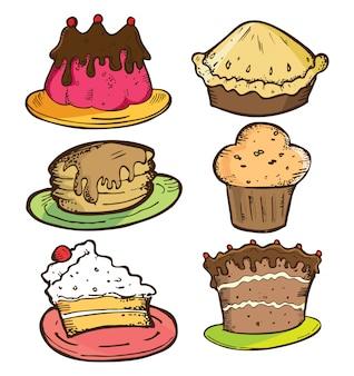 Ensemble de gâteau dans un style doodle