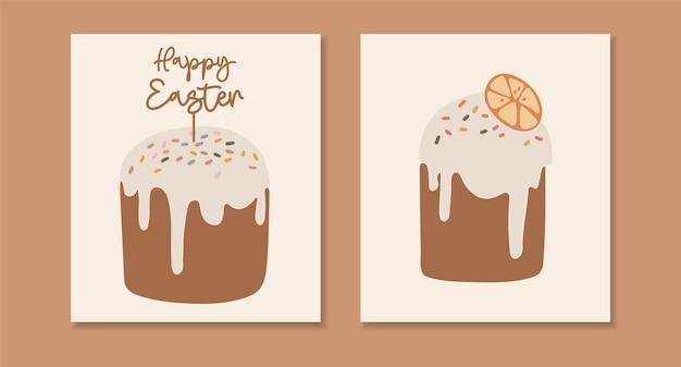Ensemble de gâteau de pâques abstrait boho isolé ensemble de pain sucré délicieux