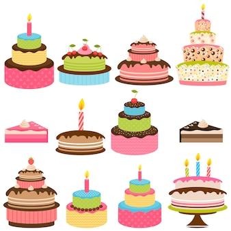 Ensemble de gâteaux d'anniversaire colorés