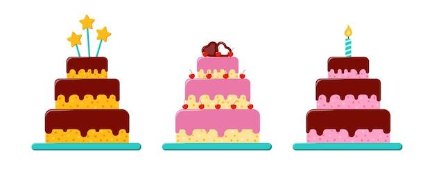 Ensemble de gâteaux d'anniversaire de vecteur. trois grands desserts dans un style plat. gâteau à trois étages avec crème au chocolat.