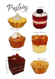 Ensemble de gâteaux aquarelle dessinés à la main,