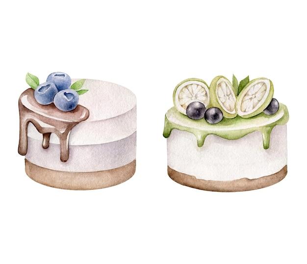 Ensemble de gâteaux aquarelle isolé sur blanc