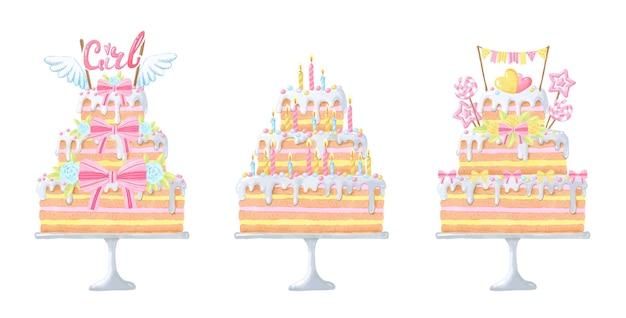 Ensemble de gâteaux aquarelles pour l'anniversaire de bébé.