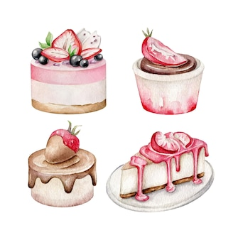 Ensemble de gâteaux aux fraises isolé sur blanc