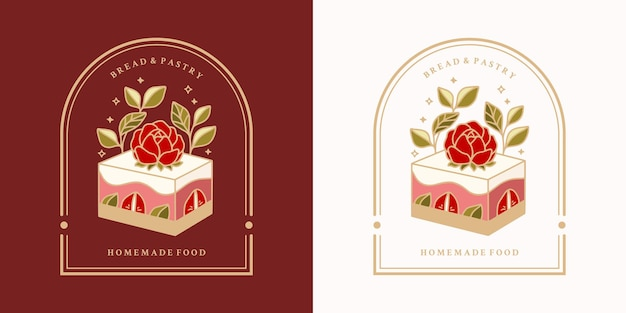 Ensemble de gâteaux aux fraises vintage dessinés à la main et cadre