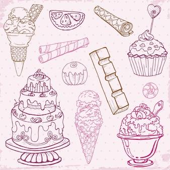 Ensemble de gâteaux, bonbons et desserts dessinés à la main