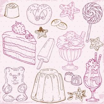 Ensemble de gâteaux, bonbons et desserts