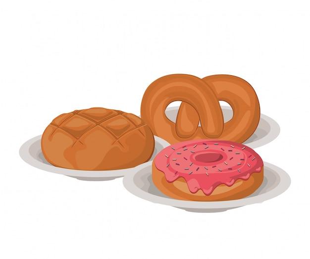 Ensemble de gâteaux de boulangerie délicieux et frais