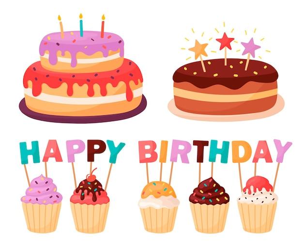 Ensemble de gâteaux et cupcakes avec des bougies. inscription de bougies joyeux anniversaire.